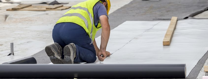 Waterproofing and insulation at construction site