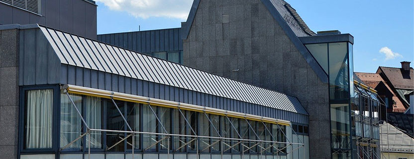 Commercial building with a commercial metal roof.