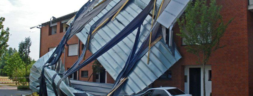 Damaged Roof Requiring Emergency Roof Repair.