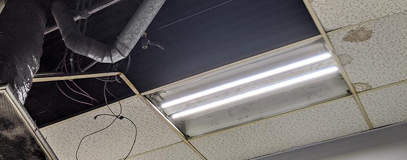 Roof Leak Requiring Commercial Roof Repair.
